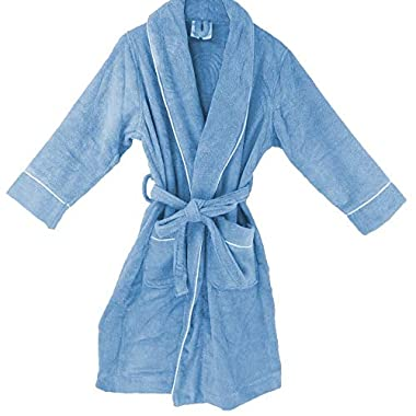 OrganicTextiles Velour Bathrobe, 100% GOTS Certified Organic Cotton, Soft, Plush, Absorbent - Women's Small, Blue