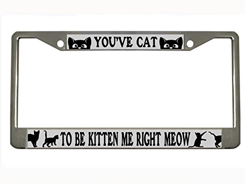 You've Cat to Be Kitten me Right Meow Chrome Metal License Plate Frame Tag Holder …