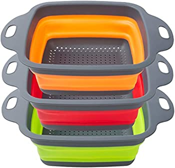 Set of 3 POPCO Wide Collapsible Colanders 4 Quart