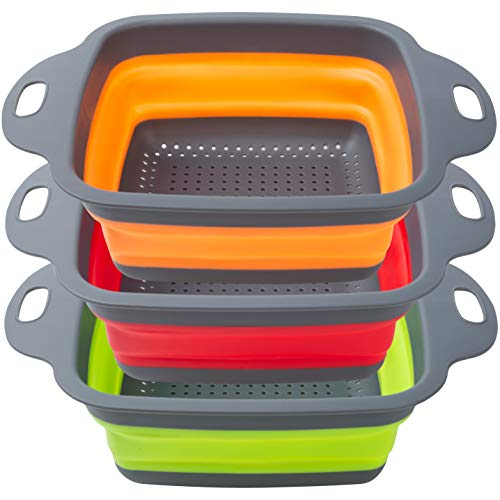POPCO Wide Collapsible Colanders Set of 3 Large 4 Quart Silicone Space Saving Kitchen Strainer Set  Perfect for Draining Pasta Vegetables Meats and fruits Square