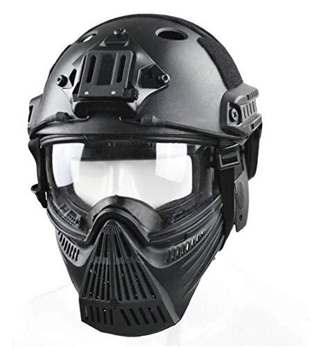 WLXW Tactical Airsoft Mask und Fast Paintball Helm, Vollgesichtsschutz Anti-Fog Clear Goggle Mask Gehörschutz Verstellbarer Gurt Jagd Schießen Schutzausrüstung,Schwarz,L