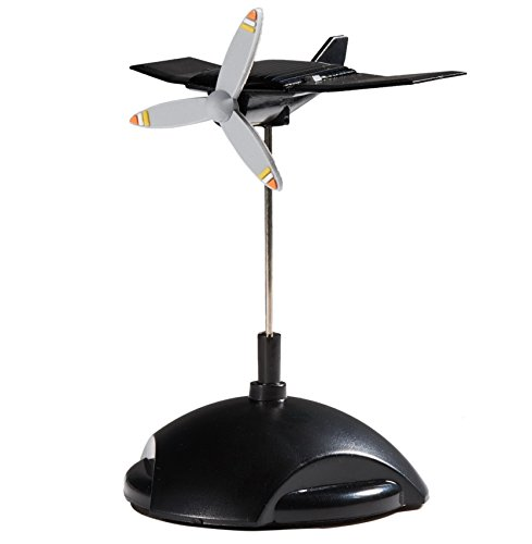 Sunnytech Mini Solar Plane Rotating Propeller Creative Solar Aircraft Ornaments Dynamic Interior Decoration Science Home Office Toy for Desk Physics Toy Solar Car Decoration WJ164
