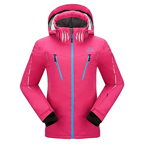 PELLIOT Damen Ski Jacke Winddichte Verdickte Snowboard Breathable Skijacke, Gr.-XL, Rose Pink