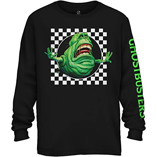 Men's Ghostbusters Slimer 80s Check Graphic Long Sleeve T-shirt