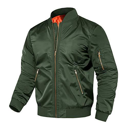 Mens Jacket Casual Outdoor Windproof Coat Windbreaker Military Jackets for Men Winter Coat Pilot Jacket for Men Green