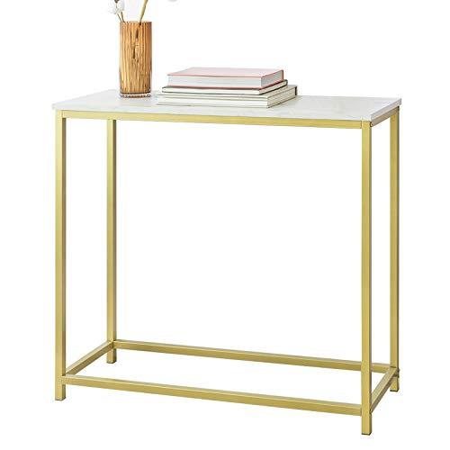 SoBuy FSB29-G Konsolentisch mit goldenem Metallrahmen Flurtisch Dekotisch Sideboard Beistelltisch Wohnzimmer Eingangsbereich BHT ca: 80x75x30cm