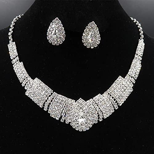 KUNHAN Juegos de Joyas Mujer Crystal Bridal Jewelry Sets Rhinestone Plateado Plateado Acessories Charm Collar Pendientes Conjuntos para Mujeres-C