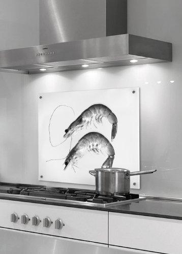 Küchenrückwand aus Glas (ESG) - Motiv: zwei Garnelen - Format 50 x 50 cm - stylischer Wandschutz und Spritzschutz für Herd, Küche und Kochbereich - mit Bohrlöchern (Punkthalterung)