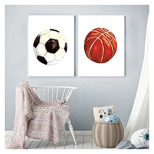 RHWXAX Ball Sport Baloncesto Rugby Football Boys Wall Art Canvas Pintura Nórdica Pósters e Impresiones Fondos de Pared para Baby Kids Room 16x24inx2 Sin Marco