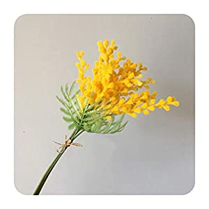 PrettyR Artificial Acacia Flowers Yellow Mimosa Spray Cherry Fruit Branch Wedding Party Event Decor Home Table Flower-3 Forks Bouquet