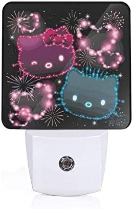Plug in Night Light Neon Hello Kitty red or Blue LED Night Lights with Dusk to Dawn Sensor for product image