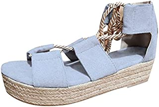 Sunyastor Womens Platform Sandals Summer Fashion Ladies Sandals Wedge Flat Beach Shoes High Heels Lace Up Strappy Sandal