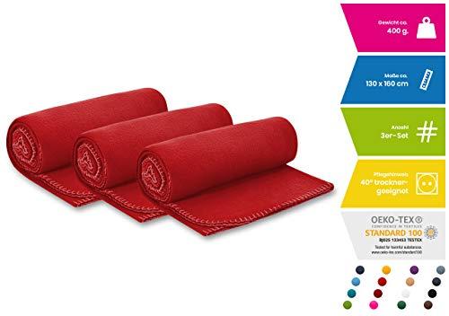 3er Set Polar Fleecedecke OekoTex 130x160 cm ca. 400g schwer mit Anti-Pilling und Kettelrand rot, weitere Farben erhältlich