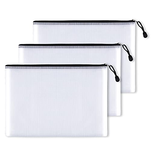 DMFLY 3pcs Mesh Zipper Pouch Document Bag, Plastic Zip File Folders, Clear Mesh Weatherproof Protection, Letter Size/A4 Size, for Office Supplies, Travel Storage Bags
