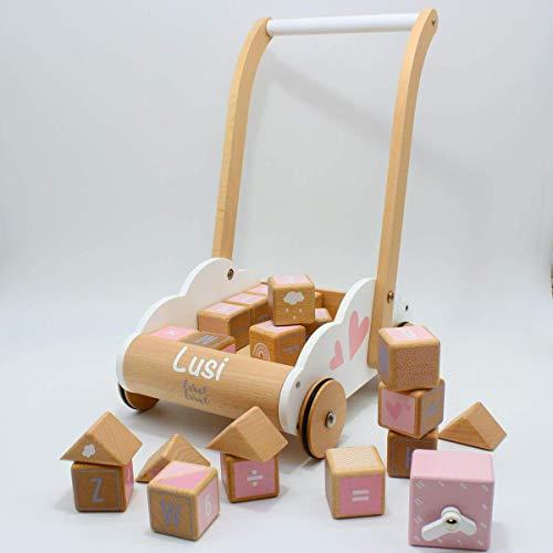 Babygeschenk zum 1. Geburtstag & Geburt Mädchen - Holzspielzeug Lauflernwagen mit Bausteinen rosa | Label-Label | Personalisiert mit Namen
