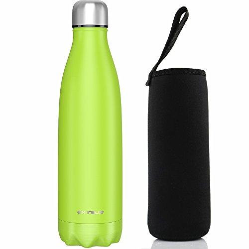 Extsud 500ml Bottiglia Termica in Acciaio Inox Borraccia Termos Mantiene 24 Ore Freddo 12 Ore Caldo Chiusura Ermetica Senza BPA Bottiglietta Sottovuoto per Outdoor Inverno/ Estate (Verde Chiaro)
