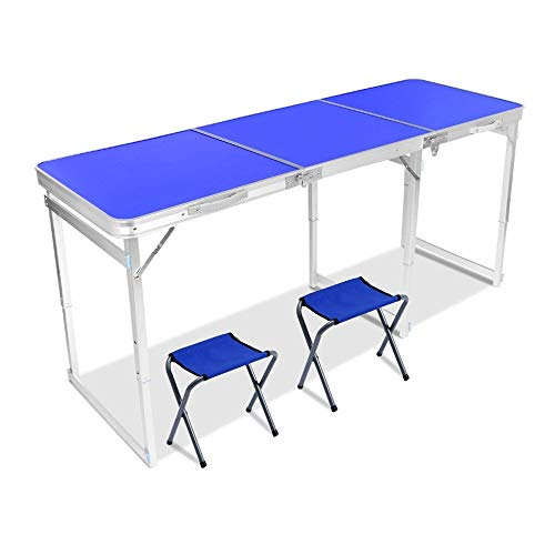 YYDD Portable Folding Table 6 Foot Longer Folding Travel Table and Chair, Portable Balcony Table with Seats, Multi-person Outdoor Picnic Table and Chairs (Size : 2 chairs)