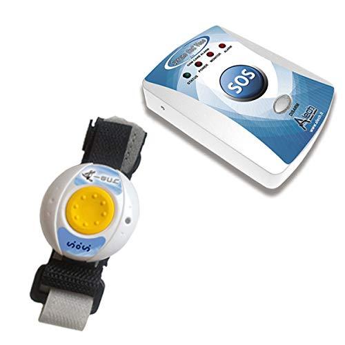 ALECH Sereno SOS: Hausnotruf mit Notruf Armband für Notruf direkt auf Telefon, Handy oder Smartphone; Notrufknopf für Senioren mit Sos Armband über Mobilfunknetz, Senioren Notruf System