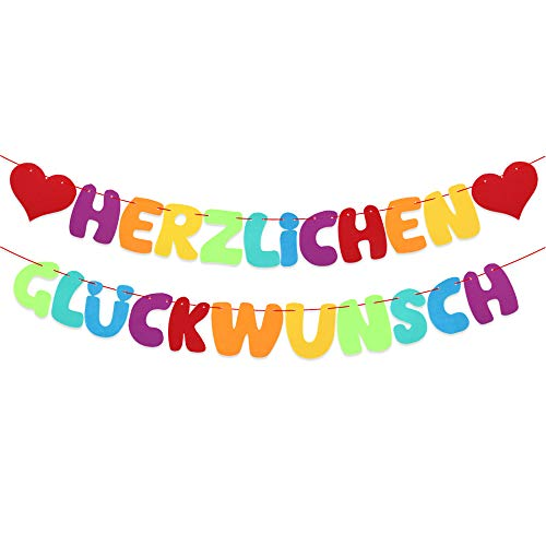 VINFUTUR Herzlichen Glückwunsch Girlande Gratulation Banner Bunt Filz Hängende Deko für Abitur Abschluss Graduation Geburtstag Hochzeit Jubiläum Ruhestand