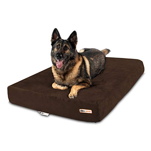 Big Barker 7' Pillow Top Orthopedic Dog Bed - XL Size - 52 X 36 X 7 - Chocolate - for Large and Extra Large Breed Dogs (Sleek Edition)