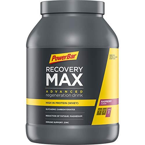 PowerBar Recovery Max Raspberry 1144g - Bebida de Suero de Leche de Regeneración con Carbohidratos + Magnesio y Zinc
