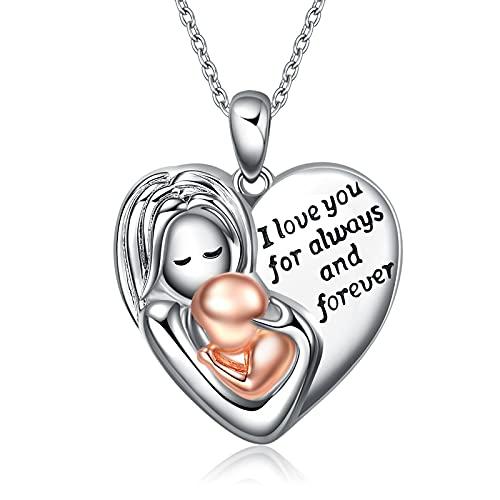 YFN Collar de plata de ley con colgante de madre e hija, para el día de la madre, regalo de cumpleaños para mamá, hija, mujeres y niñas