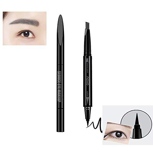Pinkiou Eyeliner Pen Augenbrauenformstift 2 In 1 Wasserdicht Langlebig (Grau)