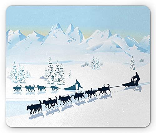 Husky Mouse Pad, Nordpol Grafik-Landschaftsgestaltung mit Snowy Mountains Hundeschlitten, Rechteck rutschfestes Gummi-Mauspad, Standard Baby Blue Dark Teal