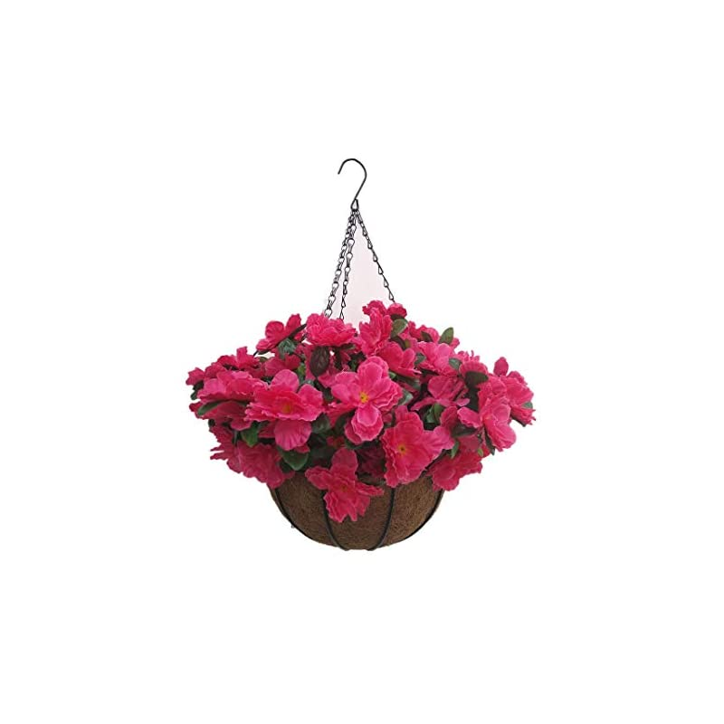 silk flower arrangements home wedding porch decoration indoors chain hanging basket flowers silk azalea with artificial grass (red)