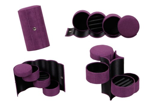 Bundle Monster 3 Tier Compartment Mini Velvet Travel Roll Up Jewelry Box Case...