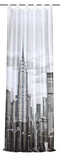 Home Fashion 48639-896 Schlaufenschal Digitaldruck New York, schwarz-weiß/Dekostoff-Seidenoptik 245 x 120 cm