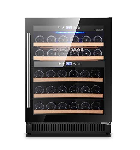 BODEGA43-40 Weinkühlschrank Einbau - Freistehend Weinklimaschrank mit 2 Zonen, 5-20 ºC, 130 Liter, 40 Flaschen, 6 Regaleinschübe, vibrationsarm, 46dB, Schwarz