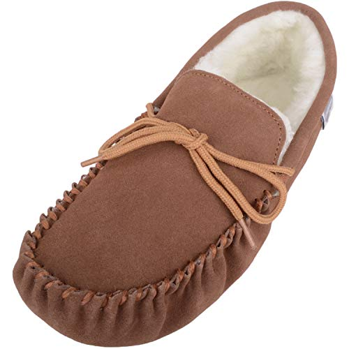 SNUGRUGS Men's Suede Sheepskin Moccasin Slippers with Soft...
