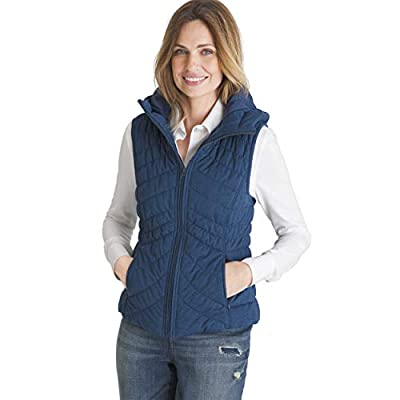 Chico's Women's Hooded Water Resistant All Weather Vest with Climate Control Technology, 8/10 - M (1), Teal by CHICO'S