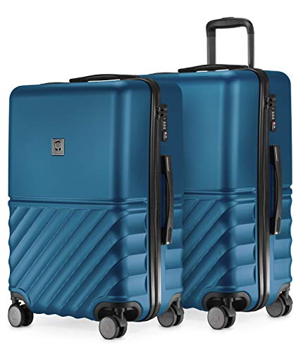 HAUPTSTADTKOFFER - Boxi - 2er Kofferset Trolley-Set Rollkoffer Reisekoffer mittelgroßer Koffer (65 cm), ABS-Hartschale TSA, 4 Spinner-Doppelrollen, Dunkelblau