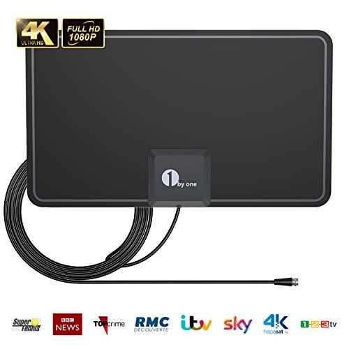 1byone Antenna TV, antenna HDTV da interno sottile in carta con prestazioni eccellenti per segnali digitali Freeview e TV analogica, VHF/UHF/FM, antenna per finestre