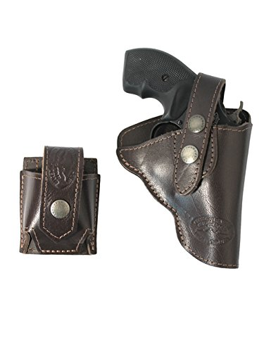 Barsony New Brown Leather Outside The Waistband Holster + Speed-Loader Pouch for EAA WINDICATOR Right