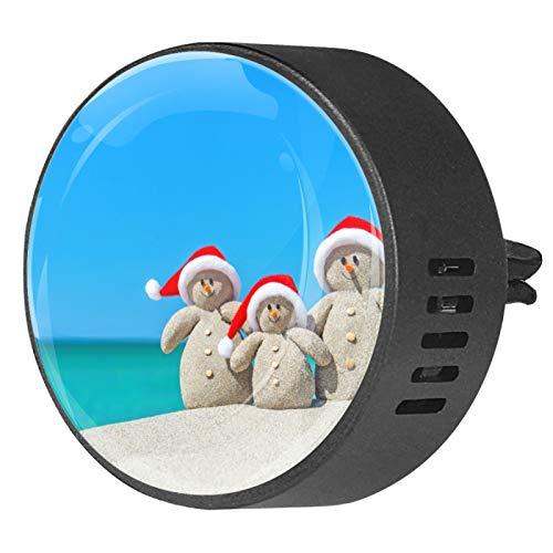 Josid Ambientador de coche con diseño de muñecos de nieve en sombreros de Papá Noel en la playa tropical, accesorios para coche, aromaterapia, difusor de ventilación, clip de regalo de 40 mm