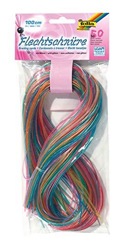 folia 732050 - Flechtschnüre, mit Glitter, 50 Stück sortiert in 10 verschiedenen Farben - ideal zum Flechten von Armbändern, Schlüsselanhängern, usw.