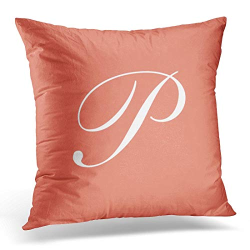 lucies Throw Pillow Cover Initial Letter P Coral Paige Decorative Pillow Case Home Decor Square 18'' X 18'' Pillowcase