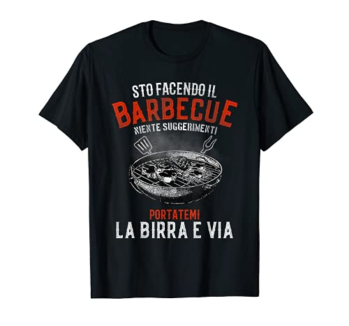 Hombre Barbacoa de jardín cerveza italiana, con frases italianas Camiseta