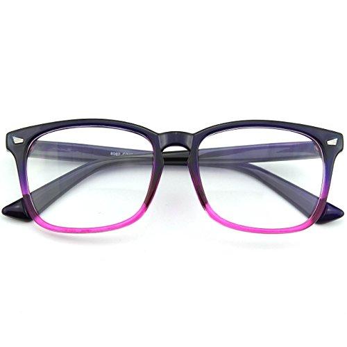 CGID CN82 Retro Anteojos Lente Claro Gafas Para Mujer y Hombre,Azul
