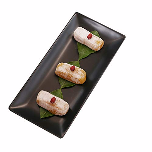 Zijplaten-LiuJF Sushi Plate, Keramiek Rechthoek Plaat Fruit Cake Salade Plaat Pizza Groenten Plaat Keuken Restaurant Plaat Grootte 24.5 * 11.5 * 2CM Koken Eettafel Serveerstukken