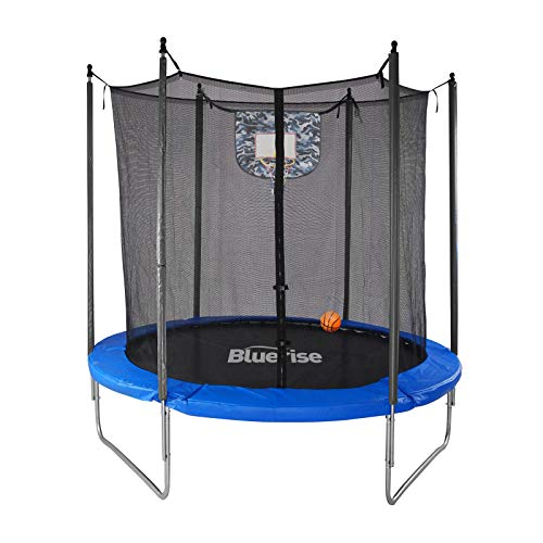 Bluerise 6FT 72'' Kids Trampoline with Enclosure Net Toddler Indoor Basketball Hoop Easy to Assemble Toddler Trampoline with Safety Spring Cover Pad Small Trampoline Indoor Trampoline for Kids