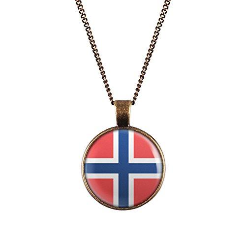 WeAreAwesome Noorwegen vlag halsketting - Oslo landketting Scandinavië met vlag hanger unisex ketting