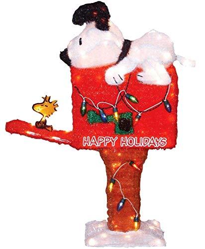 ProductWorks Beleuchteter Snoopy auf dem Briefkasten, 91,4 cm, Motiv: Peanuts, 105 Lichter