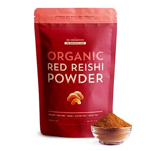 SB Organics Red Reishi Powder - 8 oz Bag of Organic Non-GMO Vegan Kosher Reishi Mushroom Powder Made of Real Mushrooms from The USA - Free of Gluten, Soy, and Dairy