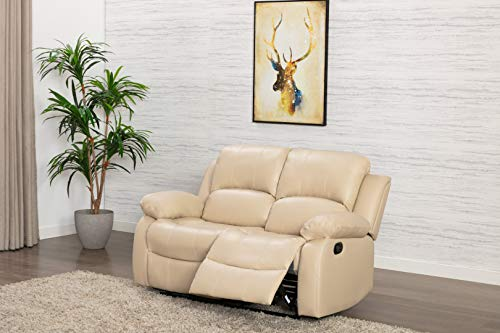 Athon Leather Cream 2 Seater Reclining Family Sofa, Armchair, Luxury Lounge Couche set