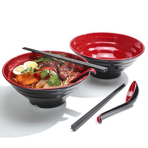 2 Juegos (6 Piezas) Tazones de Ramen, Capacidad 1032 ml Tazón de Sopa Japonés con Cuchara y Palillos, para Pasta Udon Pho Fideos Asiáticos, Aptas para el Lavavajillas (Rojo, 2 PCS)