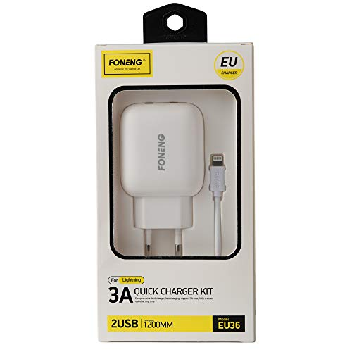 Foneng Wall Charger | USB Llightning | iPhone Cable | iPad Cable | iPad Pro | Wall Socket | iPhone SE 2020